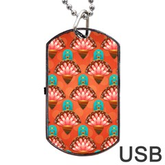 Background Floral Pattern Red Dog Tag Usb Flash (two Sides) by HermanTelo