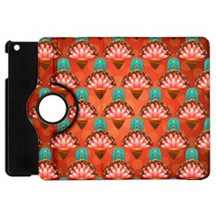 Background Floral Pattern Red Apple Ipad Mini Flip 360 Case by HermanTelo