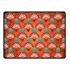 Background Floral Pattern Red Double Sided Fleece Blanket (small)  by HermanTelo