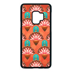 Background Floral Pattern Red Samsung Galaxy S9 Seamless Case(black)