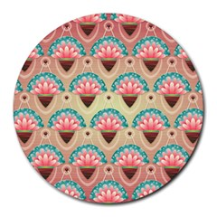 Background Floral Pattern Pink Round Mousepads by HermanTelo