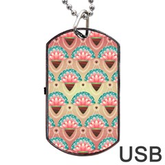 Background Floral Pattern Pink Dog Tag Usb Flash (two Sides) by HermanTelo