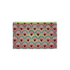Background Floral Pattern Pink Cosmetic Bag (xs) by HermanTelo