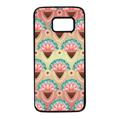 Background Floral Pattern Pink Samsung Galaxy S7 Black Seamless Case