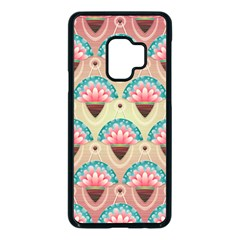 Background Floral Pattern Pink Samsung Galaxy S9 Seamless Case(black)