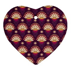 Background Floral Pattern Purple Ornament (heart) by HermanTelo