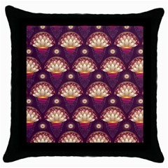 Background Floral Pattern Purple Throw Pillow Case (black) by HermanTelo