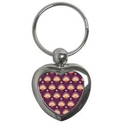 Background Floral Pattern Purple Key Chains (heart)  by HermanTelo