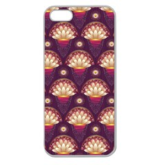 Background Floral Pattern Purple Apple Seamless Iphone 5 Case (clear) by HermanTelo