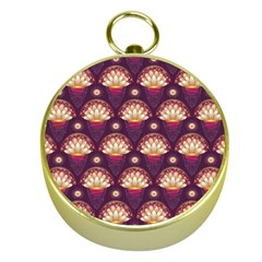 Background Floral Pattern Purple Gold Compasses