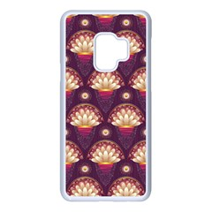 Background Floral Pattern Purple Samsung Galaxy S9 Seamless Case(white)