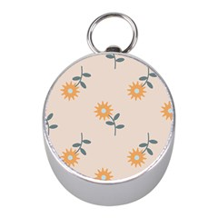 Flowers Continuous Pattern Nature Mini Silver Compasses by HermanTelo