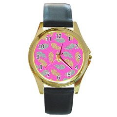 Neon Tropical Flowers Pattern Round Gold Metal Watch by tarastyle