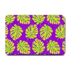 Neon Tropical Flowers Pattern Small Doormat  by tarastyle
