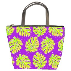 Neon Tropical Flowers Pattern Bucket Bag by tarastyle