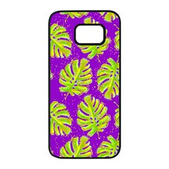 Neon Tropical Flowers Pattern Samsung Galaxy S7 Edge Black Seamless Case by tarastyle