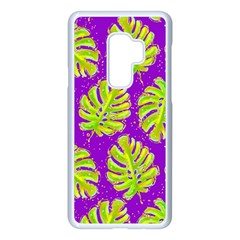 Neon Tropical Flowers Pattern Samsung Galaxy S9 Plus Seamless Case(white)