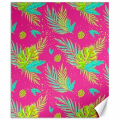 Neon Tropical Flowers Pattern Canvas 20  X 24
