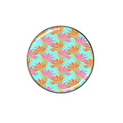 Neon Tropical Flowers Pattern Hat Clip Ball Marker (4 Pack) by tarastyle