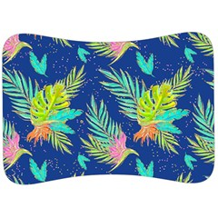 Neon Tropical Flowers Pattern Velour Seat Head Rest Cushion by tarastyle