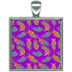 Neon Tropical Flowers Pattern Square Necklace