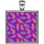 Neon Tropical Flowers Pattern Square Necklace Front