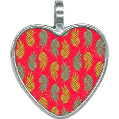 Neon Tropical Flowers Pattern Heart Necklace by tarastyle