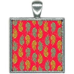 Neon Tropical Flowers Pattern Square Necklace by tarastyle