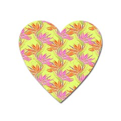Neon Tropical Flowers Pattern Heart Magnet by tarastyle