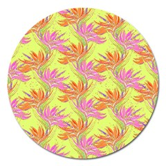 Neon Tropical Flowers Pattern Magnet 5  (round) by tarastyle