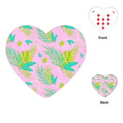 Neon Tropical Flowers Pattern Playing Cards (heart) by tarastyle