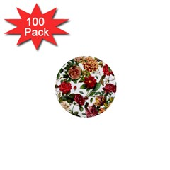 Elegant Vintage Flowers Pattern  1  Mini Buttons (100 Pack)  by tarastyle