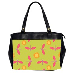 Dragonfly Sun Flower Seamlessly Oversize Office Handbag (2 Sides) by HermanTelo
