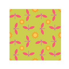Dragonfly Sun Flower Seamlessly Small Satin Scarf (square)