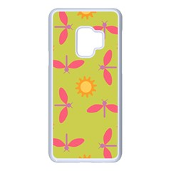 Dragonfly Sun Flower Seamlessly Samsung Galaxy S9 Seamless Case(white)