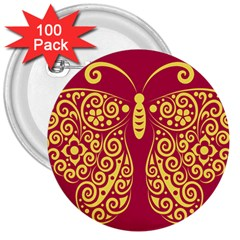 Butterfly Insect Bug Decoration 3  Buttons (100 Pack)  by HermanTelo