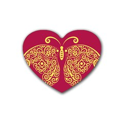 Butterfly Insect Bug Decoration Heart Coaster (4 Pack)
