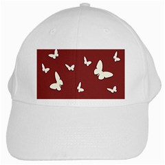 Heart Love Butterflies Animal White Cap by HermanTelo