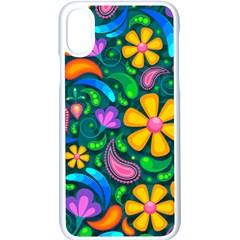 Floral Paisley Background Flower Green Iphone X Seamless Case (white)