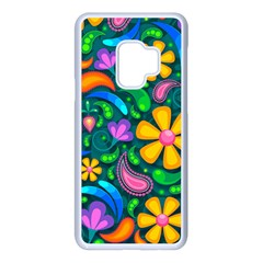 Floral Paisley Background Flower Green Samsung Galaxy S9 Seamless Case(white)