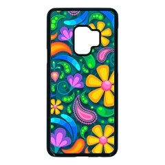Floral Paisley Background Flower Green Samsung Galaxy S9 Seamless Case(black)
