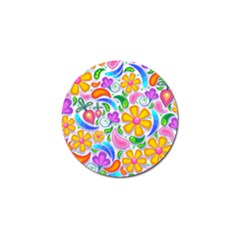 Floral Paisley Background Flower Yellow Golf Ball Marker (10 Pack) by HermanTelo