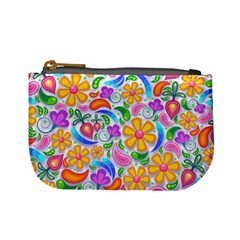 Floral Paisley Background Flower Yellow Mini Coin Purse