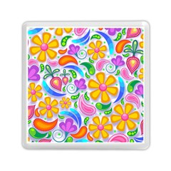 Floral Paisley Background Flower Yellow Memory Card Reader (square) by HermanTelo