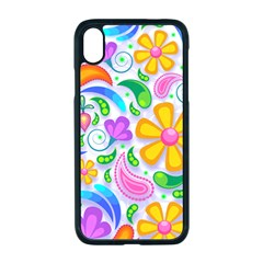 Floral Paisley Background Flower Yellow Iphone Xr Seamless Case (black)