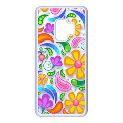 Floral Paisley Background Flower Yellow Samsung Galaxy S9 Seamless Case(white)