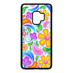 Floral Paisley Background Flower Yellow Samsung Galaxy S9 Seamless Case(black)