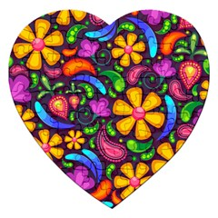 Floral Paisley Background Flower Purple Jigsaw Puzzle (heart) by HermanTelo
