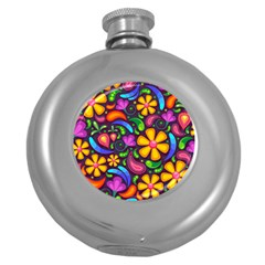 Floral Paisley Background Flower Purple Round Hip Flask (5 Oz) by HermanTelo