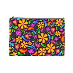 Floral Paisley Background Flower Purple Cosmetic Bag (large)